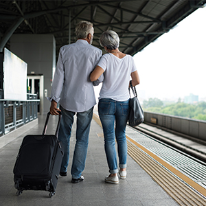 Couple on a train platform